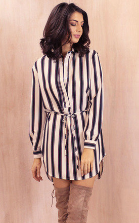 Belted long sleeve curve hem striped shirt dress in cream with navy & burgundy by One Nation Clothing Product photo