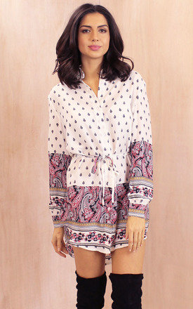 Belted long sleeve curve hem paisley shirt dress in cream with pink & black by One Nation Clothing Product photo