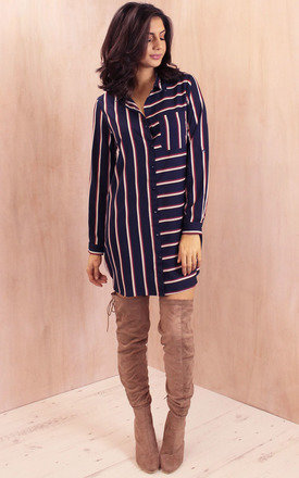 Long sleeve curve hem striped shirt dress in navy with cream & burgundy by One Nation Clothing Product photo