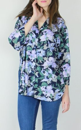 Vintage floral curved hem shirt blouse top by Re:dream Product photo