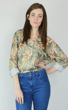 Vintage 90s printed v-neck oversized silky shirt blouse top by Re:dream Product photo