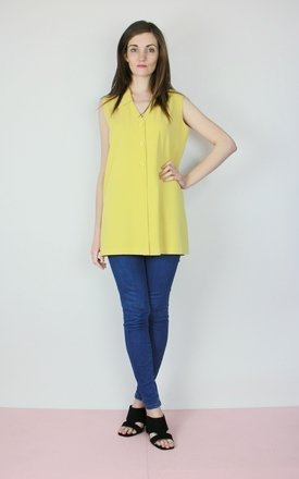 Vintage 90s mustard yellow sleeveless shirt blouse waistcoat by Re:dream Product photo