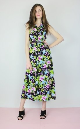 Vintage 90s floral open back shirt midi maxi dress by Re:dream Product photo