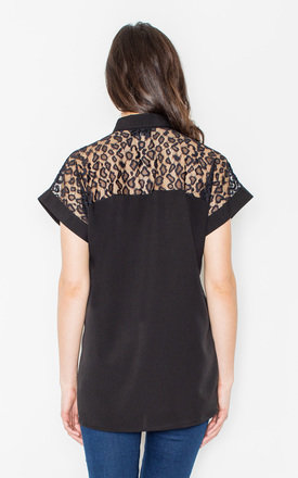 Black See Through Leopart Print Shirt by FIGL