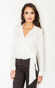 Long sleeve Wrap shirt in white by FIGL