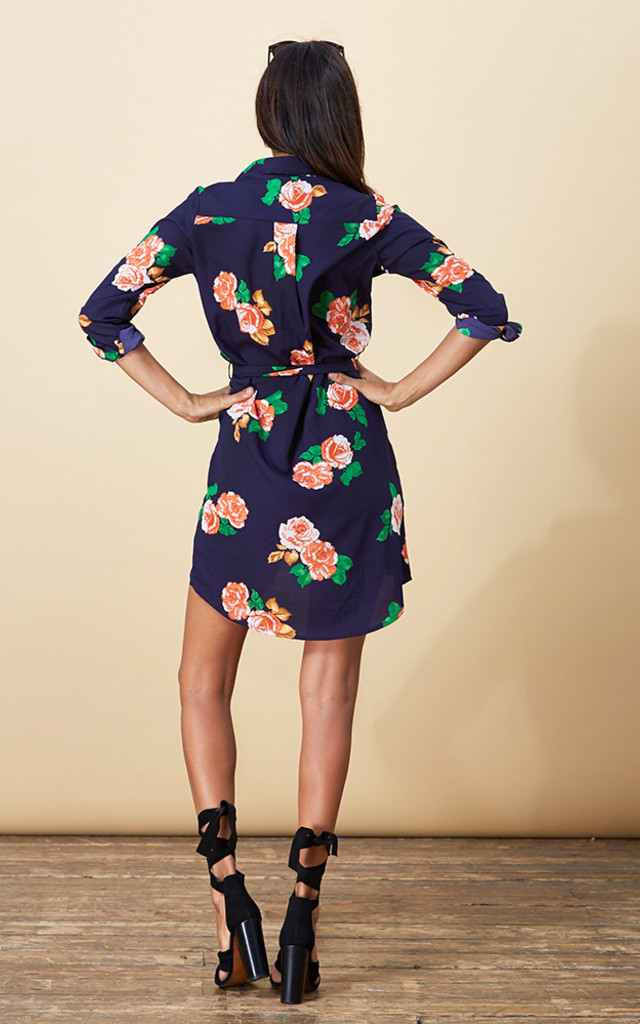 Mini Shirt Dress in Navy Rose by Dancing Leopard