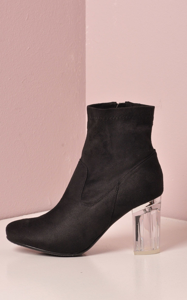 clear perspex faux suede block heel ankle boot silkfred