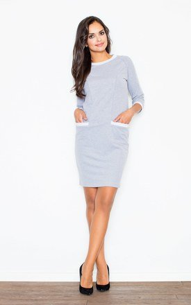 Grey 3/4 Sleeve Loose Two Front Pockets Dress by FIGL
