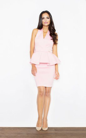 Pink Peplum dress with a V-neck by FIGL