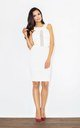 Ecru Fitting Dress with Transparent Stripe by FIGL