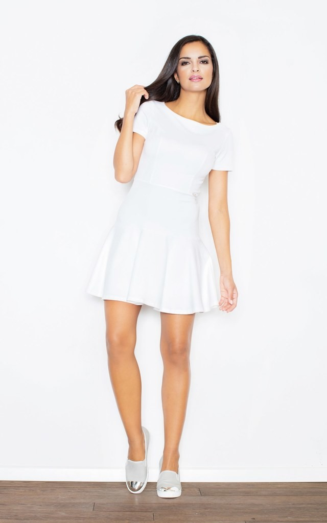 Skater Dress with dip hem in white by FIGL