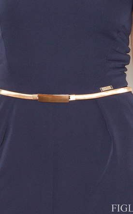 Navy Blue Off The Shoulder Jumpsuit With Belt by FIGL