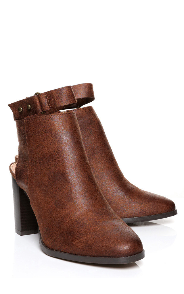 Vintage Brown Ankle Strap Boots by Jezzelle