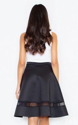 Black Flared Skirt with Transparent Stripe by FIGL