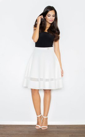 Ecru Flared Skirt with Transparent Stripe by FIGL