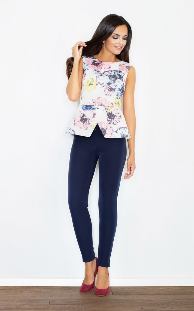 Floral Sleeveless Top With Back Zipper by FIGL