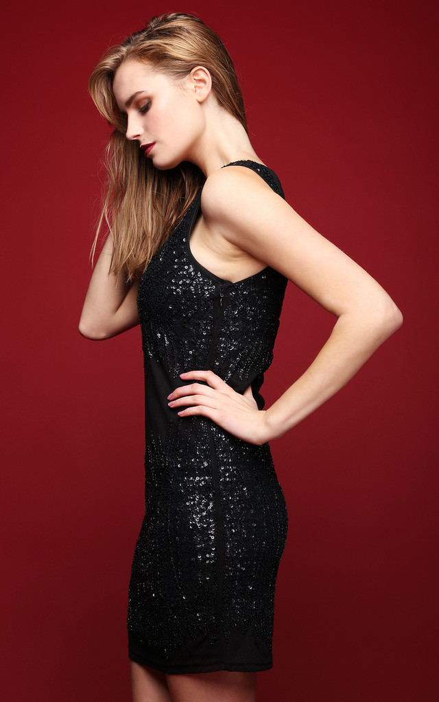 Beaded Sequin Embellished Shift Dress by Jezzelle
