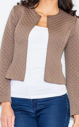 Beige Buttonless Quilted Jacket by FIGL