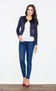 Navy Blue Buttonless Quilted Jacket by FIGL