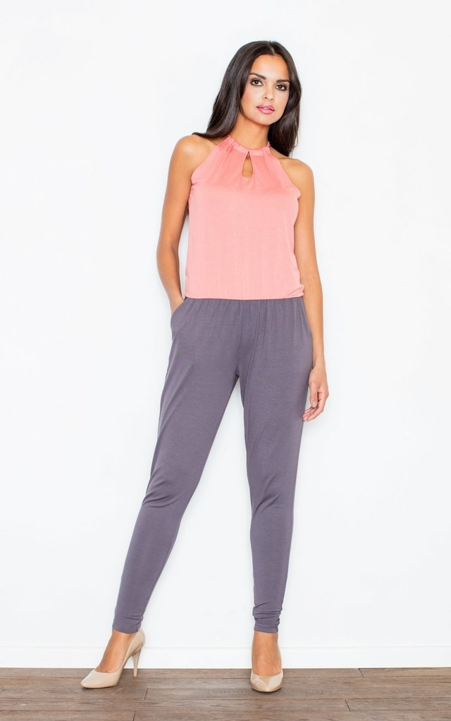 Two Color Sleeveless Jumpsuit by FIGL