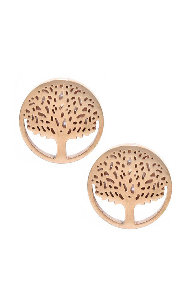 Gold Encircled Stud Tree Earrings by VeryGirly
