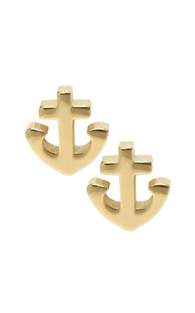 Gold Plated Tiny Anchor Stud Earring by VeryGirly