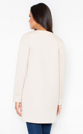 Beige Long-Sleeved Coat Without a Collar by FIGL