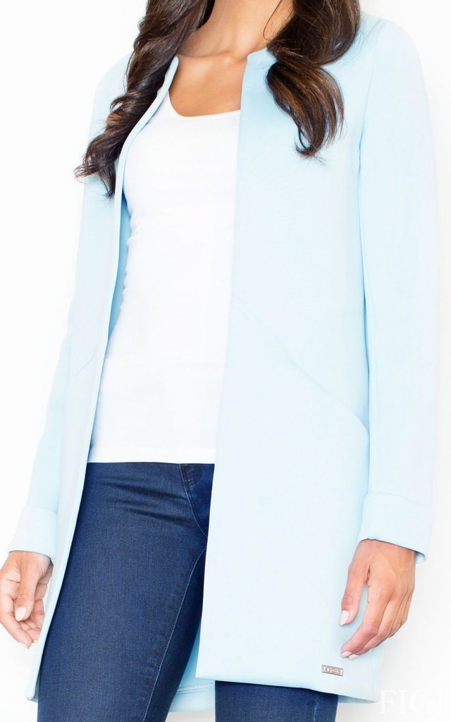 Blue Long-Sleeved Coat Without a Collar by FIGL
