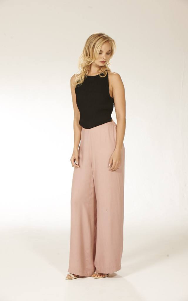 Wide Leg Crossover Jumpsuit - Pink by Lily and Carter London