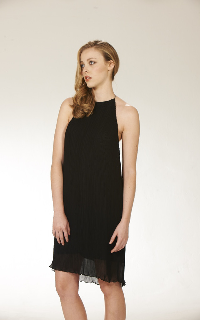Pleated Halter Dress by Lily and Carter London