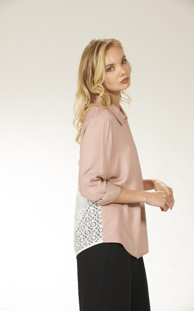 Crochet Panel Shirt - Blush by Lily and Carter London