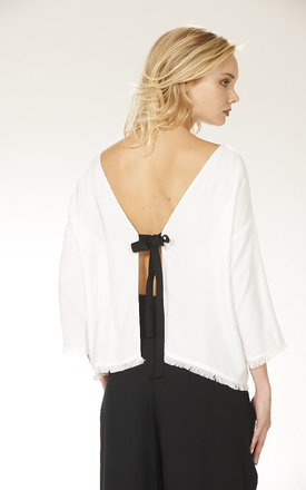 Boxy Blouse with Tie Back by Lily and Carter London