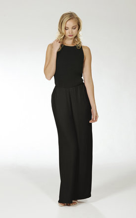 Wide Leg Crossover Jumpsuit- Black by Lily and Carter London