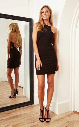 Mini Bodycon Dress With Lace Panel	Black by Oh My Love Product photo
