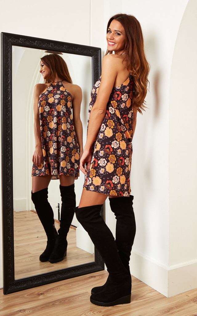 Orange Floral High Neck Dress by Oh My Love