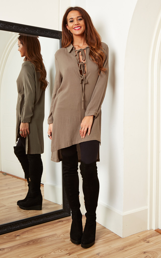 Khaki Lace Up Shirt Dress by Lola May