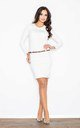 Belted pencil dress in white by FIGL