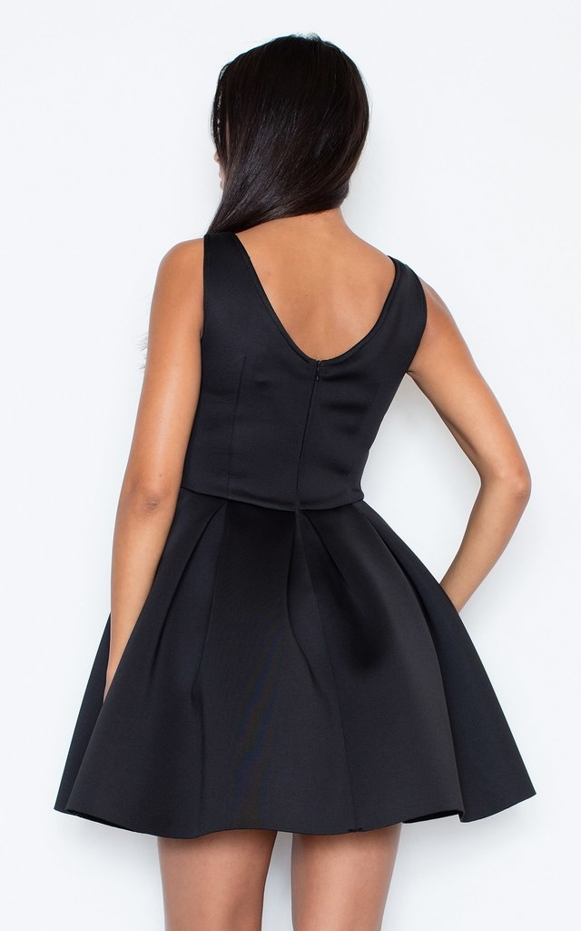 Black Fit-and-Flared Sleeveless Dress by FIGL