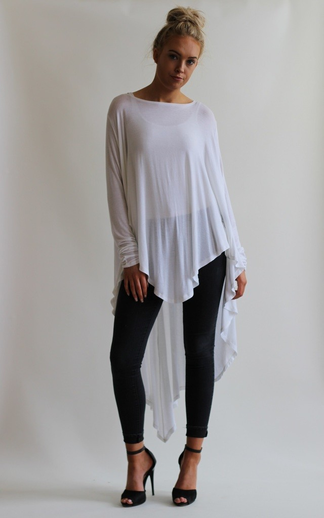 Godiva White Long Sleeve Oversize Top by LagenLuxe