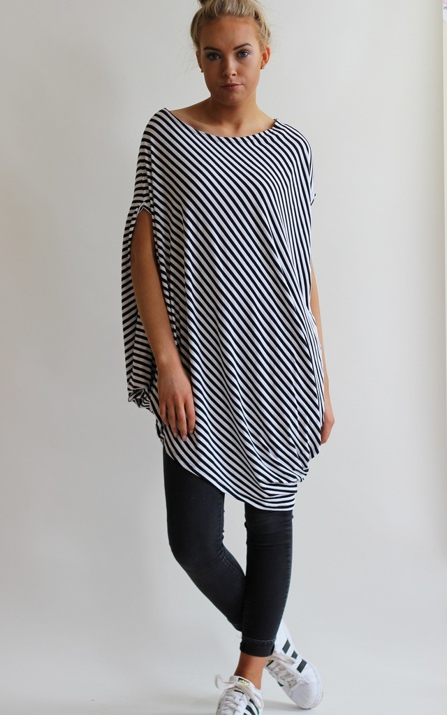 Gina Stripe Asymmetric Tunic Top by LagenLuxe