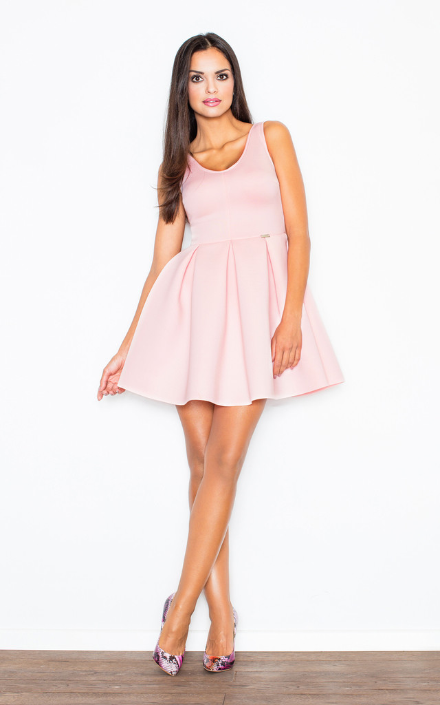 Pink Fit-and-Flared Sleeveless Dress by FIGL