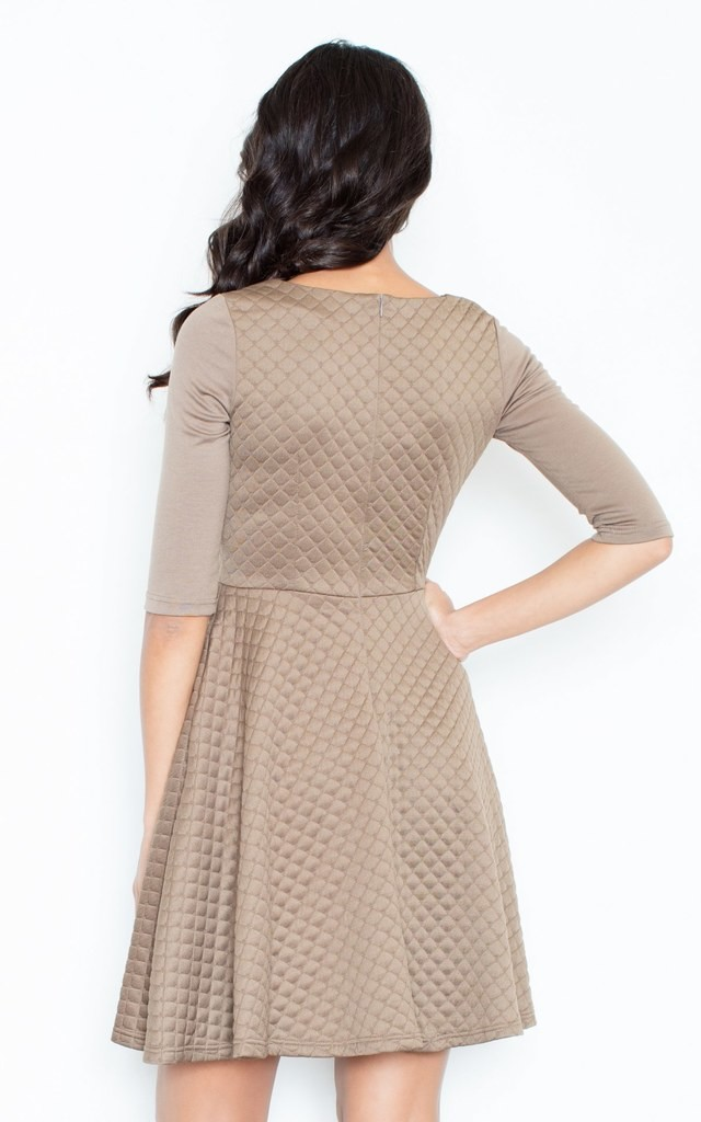 Quilted Skater Dress in Beige by FIGL