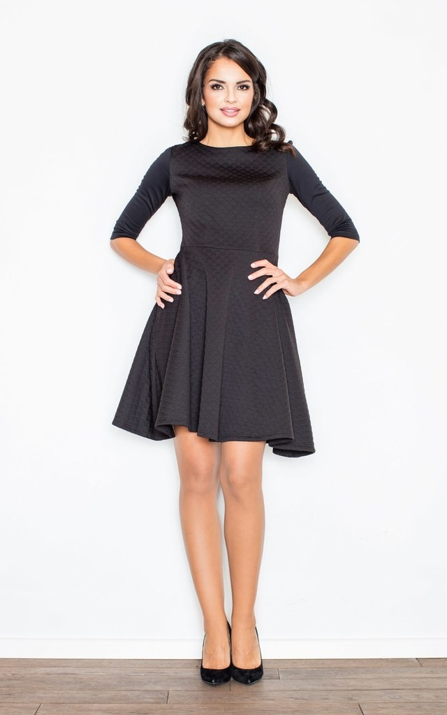 Black Quilted Flared Dress by FIGL
