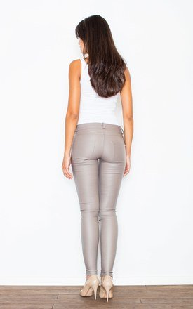 Beige Tight Trousers With a Decorative Zipper by FIGL