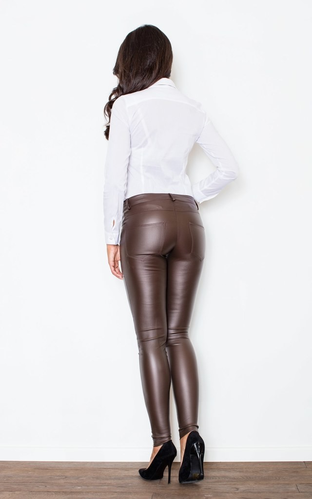 Brown Tight Trousers With a Decorative Zipper by FIGL
