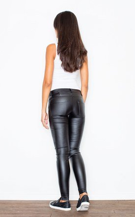 Black Tight Trousers With a Decorative Zipper by FIGL
