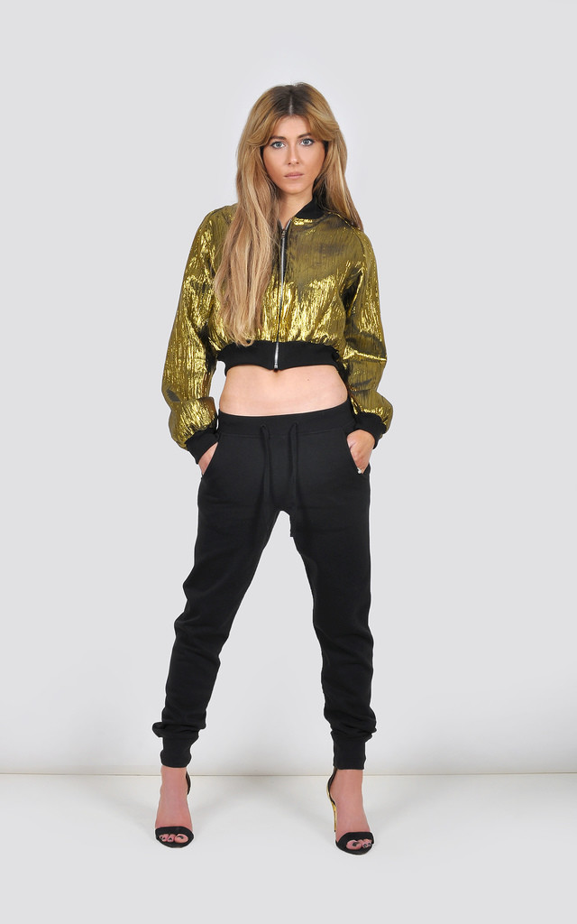 Cropped Metallic Gold Bomber Jacket by The Left Bank