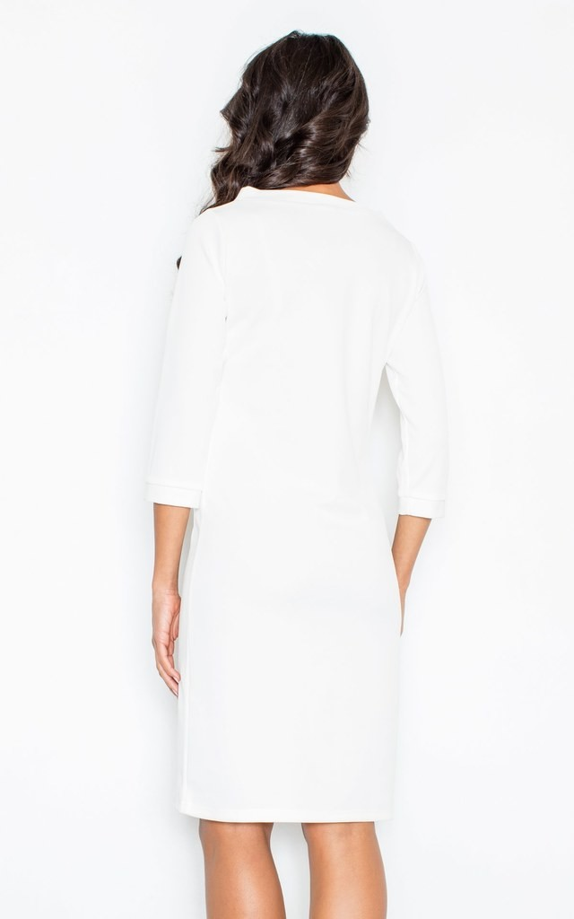 Shift dress with 3/4 sleeve in white by FIGL