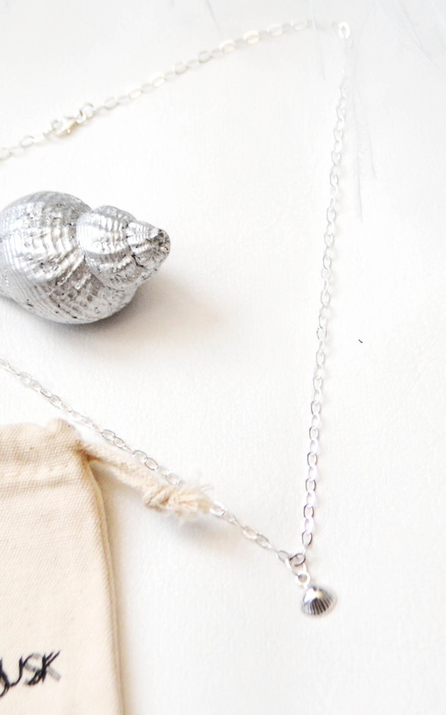 Sterling Silver Clam Necklace by Wanderdusk