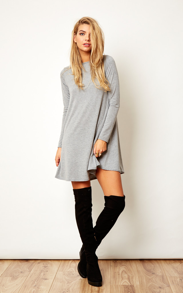 2a6b1f4ff8bf Grey Long Sleeve Swing Dress by Lilah Rose